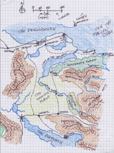 The campaign map: a section of the Forgotten Realms, photocopied at 400%, traced over and hand-colored, with some names changed to suit.